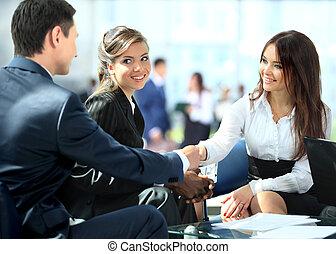 persone affari, stringere mano, finitura, su, uno, riunione