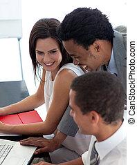 persone affari, studiare, uno, nuovo, progetto