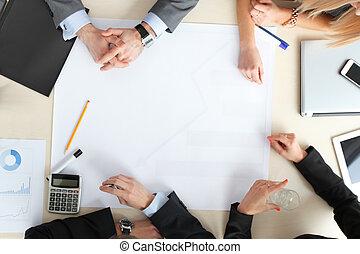 persone affari, su, riunione