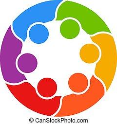 persone affari, vettore, logotipo, cerchio, riunione