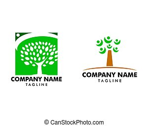 persone, albero, set, sagoma, logotipo