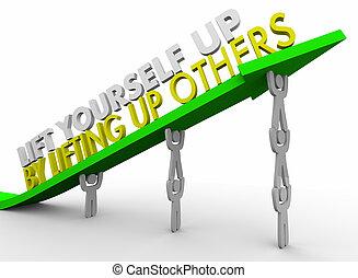 persone, altri, su, illustrazione, te stesso, ascensore, freccia, squadra, sollevamento, 3d