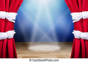 persone, apertura, due, tenda, rosso, palcoscenico