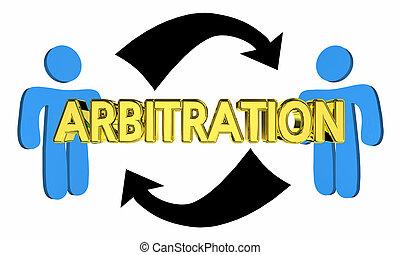 persone, arbitrato, accordo, due, negoziare, illustrazione, giudizio, 3d