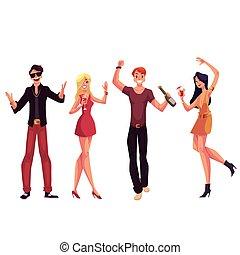 persone, ballo, cocktail, giovane, divertimento, bere, detenere, festa
