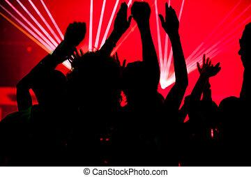 persone, ballo, in, club, con, laser