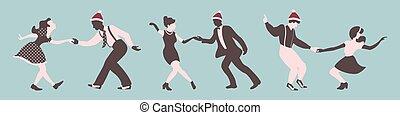 persone, ballo, set, natale