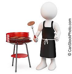 persone., bianco, 3d, barbecue
