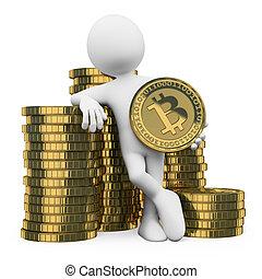 persone., bianco, bitcoin, 3d