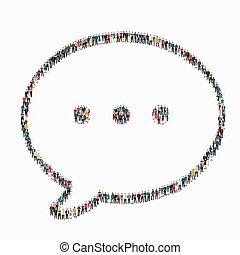 persone, bolla, chiacchierata, icona
