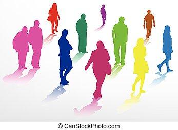 persone camminando, silhouette