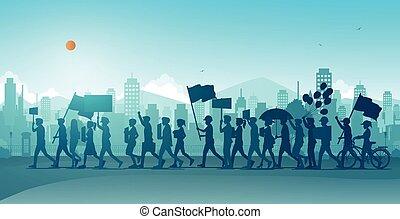persone, camminato, protesta