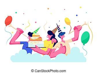 persone, cappelli, rejoice., allegro, festeggiare, festa., gruppo, tubi per condutture, cartone animato, vacanza, palloni, appartamento, colorito, festivo, illustrazione, compleanno, coriandoli, fondo, torta, donne, uomini, vettore, gioco
