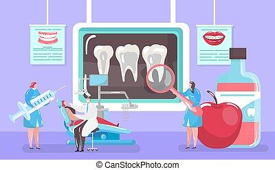 persone, carie, dentista, concetto, illustration., medico, mini, cartone animato, vettore, trattamento, patinet, raggi x, dentale, cura, sedia, dente