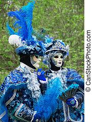 persone, carnival., maschere, veneziano, strada, unrecognizable