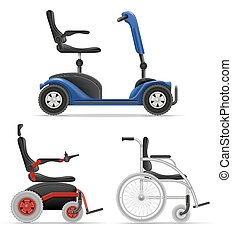 persone, carrozzella, illustrazione, invalido, vettore, ...