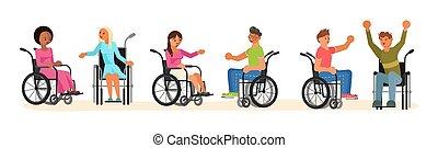 persone, carrozzella, invalido, set