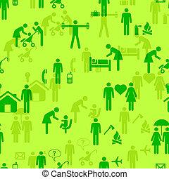 persone, carta da parati, -, seamless, icone