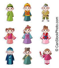 persone, cartone animato, set, icona, cinese