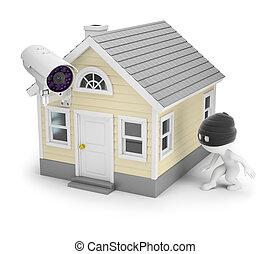 persone, casa, -, ladro, piccolo, 3d