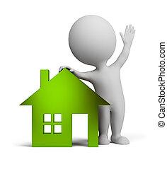 persone, casa, -, vetro, piccolo, 3d