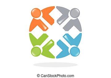 persone, collegato, simboli, e, teamwo