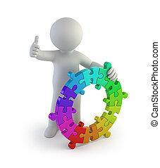 persone colorano, -, piccolo, anello, 3d