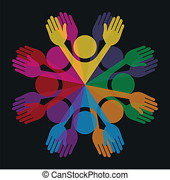 persone., colorito, cerchio