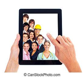 persone., computer, gruppo, affari, tavoletta