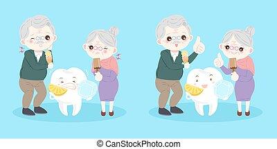 persone, con, sensibile, dente