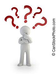 persone, confusione, mark., -, domanda, piccolo, 3d