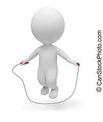 persone, -, corda, saltando, piccolo, 3d