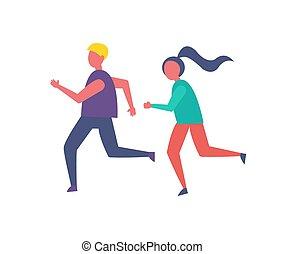 persone, correndo, illustrazione, jogging, vettore, icona