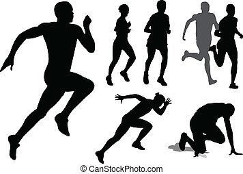 persone, correndo, silhouette