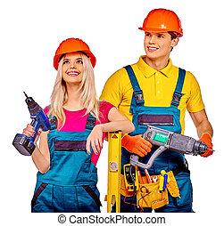 persone, costruzione, tools., gruppo, costruttore