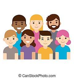persone., diverso, gruppo