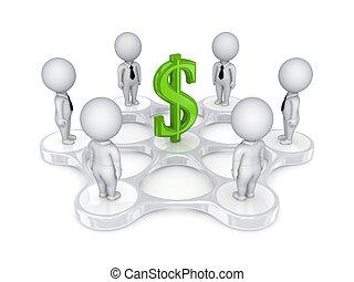 persone, dollaro, intorno, segno., 3d, piccolo