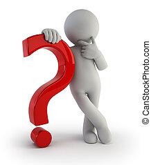 persone, domanda, -, marchio, piccolo, 3d
