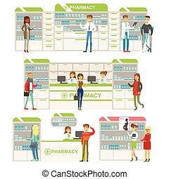 persone, droghe, clienti, scene, collezione, farmacia, cosmetica, scegliere, sorridente, farmacia, farmacisti, acquisto