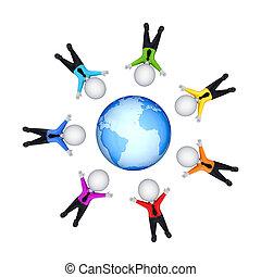 persone, earth., intorno, 3d, piccolo