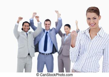persone, elevato, lei, entusiasta, fondo, segretario, contro...