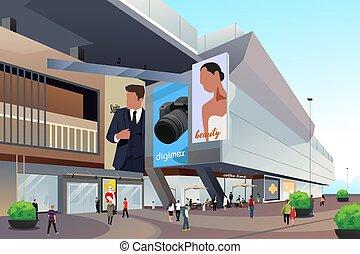 persone, esterno, shopping, illustrazione, centro commerciale