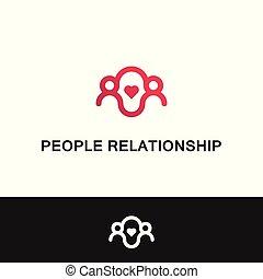 persone, family., vettore, sagoma, logotipo, relazione