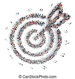 persone, forma, di, uno, bersaglio, con, un, arrow.