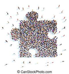 persone, forma, di, uno, puzzle.
