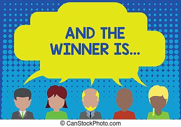 persone, foto, qualcosa, differente, vincitore, scrittura, discorso, is., concettuale, bolla, condivisione, affari, esposizione, mano, persone, cinque, dimostrare, comunicazione., annunciare, vince, cosa, showcasing, o