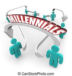 persone, generazione, frecce, giovane, gioventù, millennials, collegato