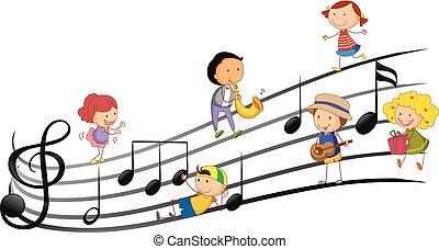 persone, gioco, strumenti musicali, con, note musica, in, fondo