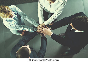 persone, gruppo, affari, accoppiamento, mani