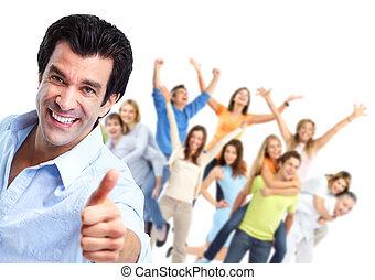 persone., gruppo, felice